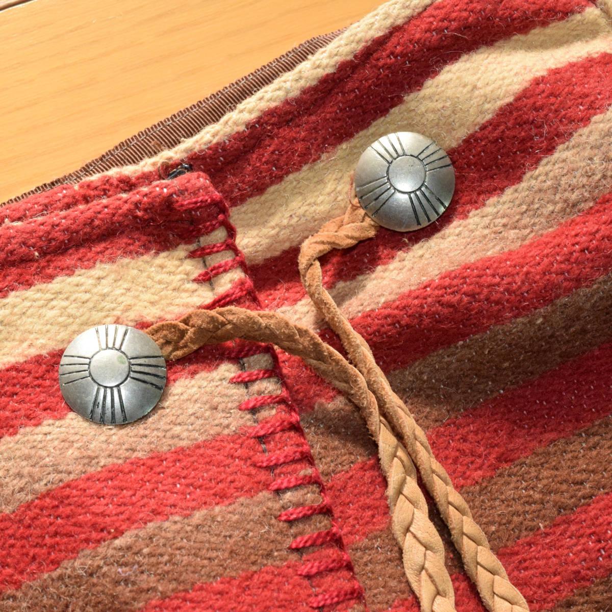 美品!USA製 ポロカントリー ネイティブ柄 ブランケット M ラグ ロング 巻きスカート コンチョ付 古着 ナバホ インディアン ビンテージ_画像6