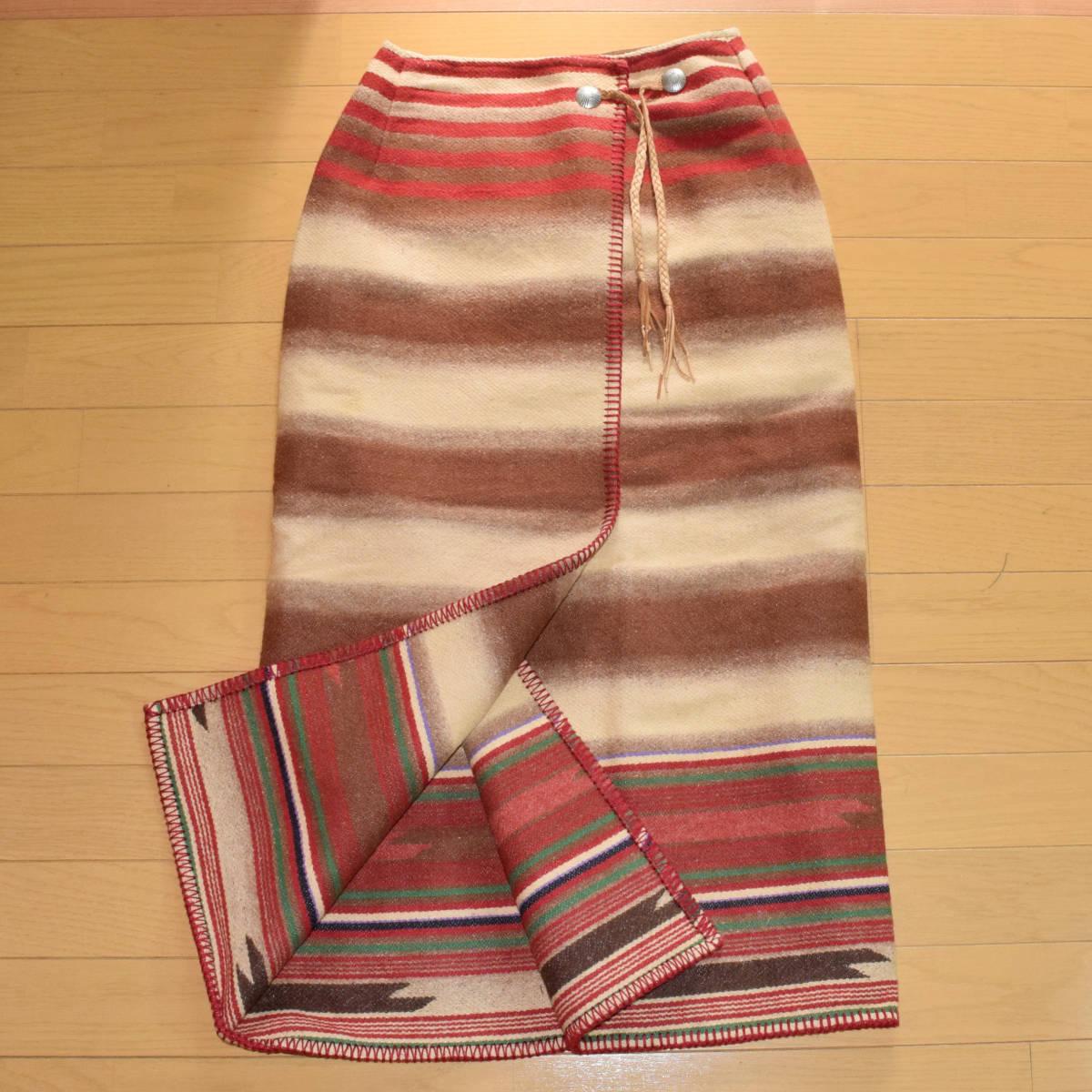 美品!USA製 ポロカントリー ネイティブ柄 ブランケット M ラグ ロング 巻きスカート コンチョ付 古着 ナバホ インディアン ビンテージ_画像1
