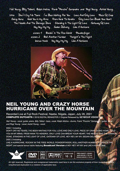 NEIL YOUNG & CRAZY HORSE / HURRICANE OVER THE MOUNTAIN - UP GRADE EDITION フジロック 2001 新品プレス盤2DVD_画像2