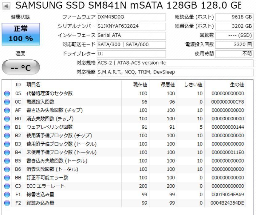 【送料無料】SAMSUNG 中古SSD 128GB mSATA 4個セット 動作良品_画像6