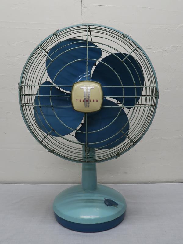 498 東芝 昭和レトロ 扇風機 HD型 わすれな草 空色(ツートン) 中古 動作確認済み