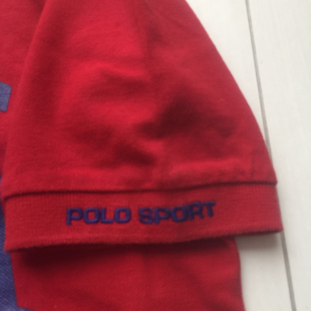 送料無料 90s polo sport ポロスポーツ ラルフローレン USA アーチロゴ ポロシャツ vintage ビンテージ レッド バーガンディ M rrl country_画像5