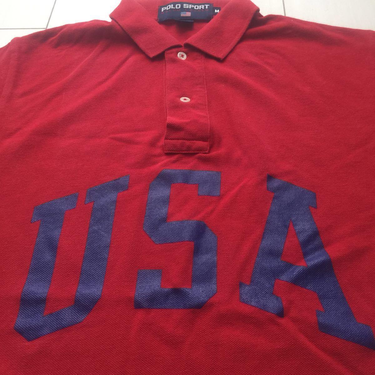 送料無料 90s polo sport ポロスポーツ ラルフローレン USA アーチロゴ ポロシャツ vintage ビンテージ レッド バーガンディ M rrl country_画像4