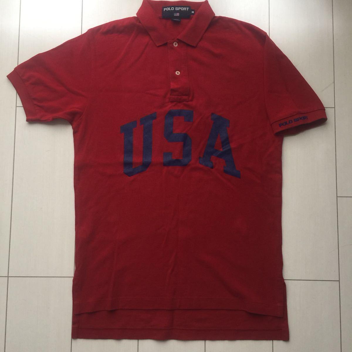 送料無料 90s polo sport ポロスポーツ ラルフローレン USA アーチロゴ ポロシャツ vintage ビンテージ レッド バーガンディ M rrl country_画像1