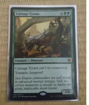【MTG】《殺戮の暴君/Carnage Tyrant》[XLN] 緑R 英語1枚