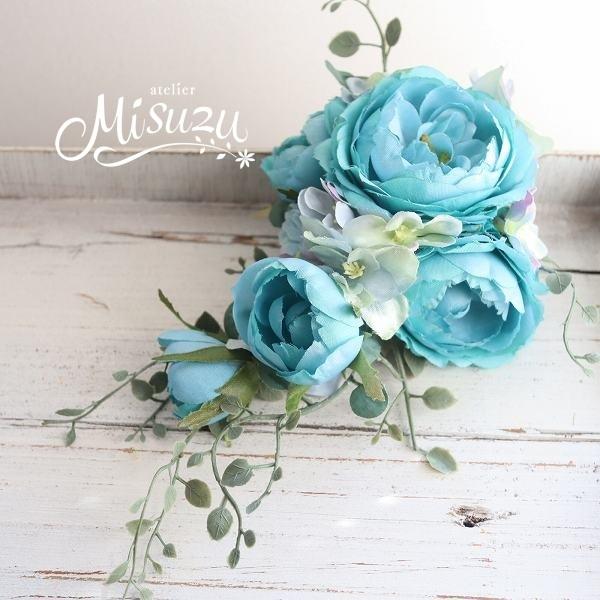 *misuzu* 薔薇ナチュラルグリーン キャスケードコサージュ 卒業式・入学式・式典・結婚式・謝恩会 119-4ターコイズ_画像1
