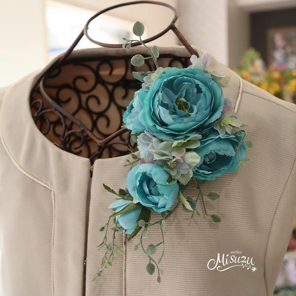 *misuzu* 薔薇ナチュラルグリーン キャスケードコサージュ 卒業式・入学式・式典・結婚式・謝恩会 119-4ターコイズ_画像4