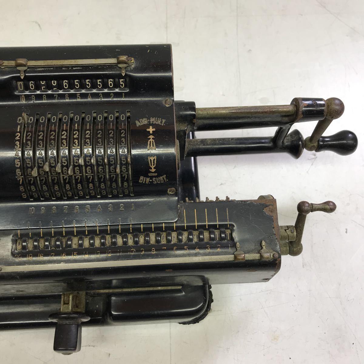 Tiger calculator タイガー計算機手回し 黒 ブラック 昭和レトロ タイガー 機械式計算機 アンティーク 手動式 _画像3