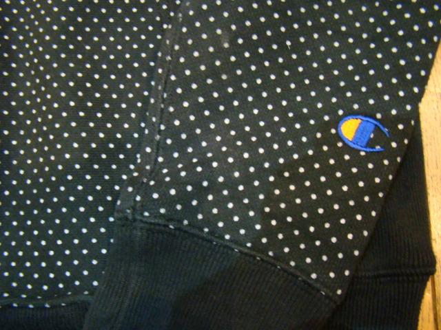 美品 Champion REVERSE WEAVE スウェット パーカー S ドット ブラック 青タグ 単色タグ チャンピオン リバースウィーブ フルジップ_画像3