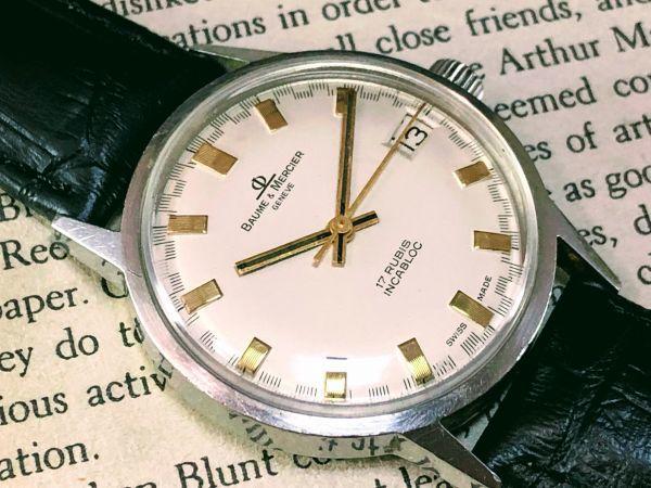 ■極上美品!■高級ブランド/ボーム&メルシエ【BAUME & MERCIER】1960'sビンテージ/メンズ/手巻き/腕時計/アンティークウォッチ/OH済み_画像5