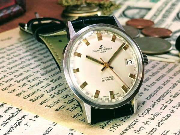 ■極上美品!■高級ブランド/ボーム&メルシエ【BAUME & MERCIER】1960'sビンテージ/メンズ/手巻き/腕時計/アンティークウォッチ/OH済み_画像4