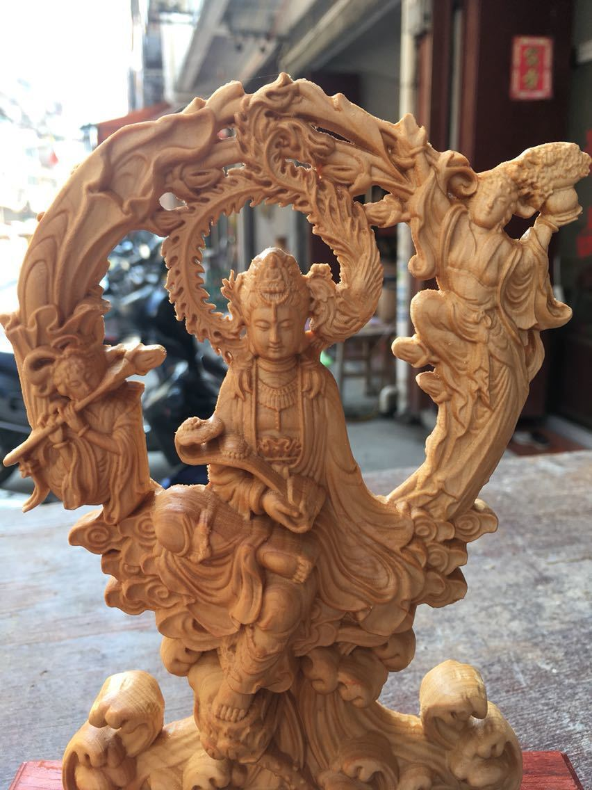 崖柏 木彫 仏像 観音 工芸品 置物 収蔵 コレクション k110