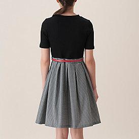 ☆ブルーレーベルクレストブリッジのギンガムチェック柄スカートのドッキングワンピース☆_画像2