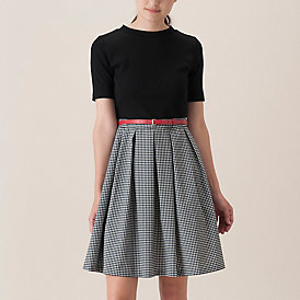 ☆ブルーレーベルクレストブリッジのギンガムチェック柄スカートのドッキングワンピース☆_画像5