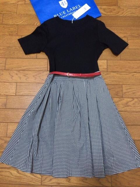☆ブルーレーベルクレストブリッジのギンガムチェック柄スカートのドッキングワンピース☆