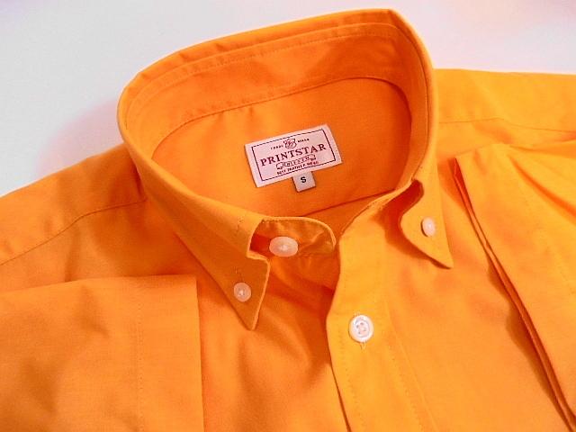 Sサイズ Printstar 2枚セット 未使用 未開封 ボタンダウン 半袖 シャツ 橙 橙オレンジ ブロード プリントスター_画像1