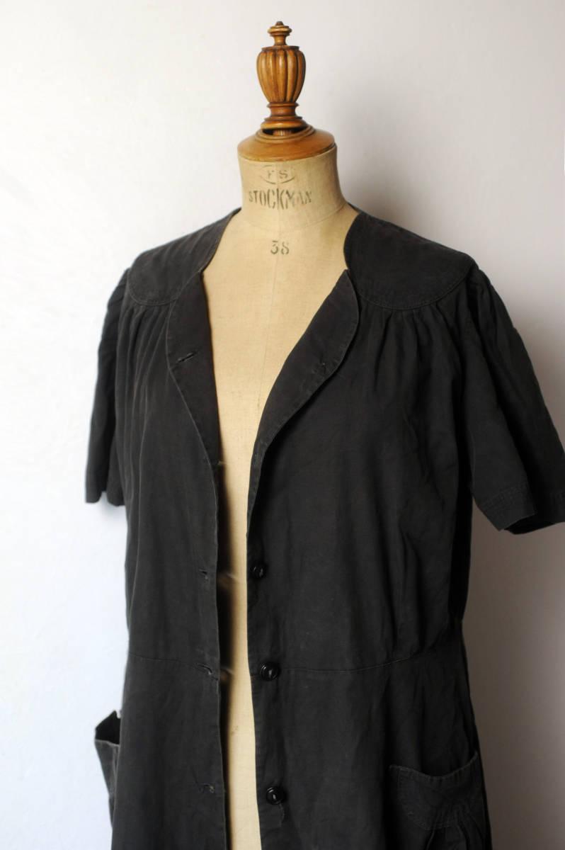 フランス ヴィンテージ 1930's ブラックコットンリネンワークブラウス レアディティール 20s 30s 40s ジャケット アンティーク 送料込_画像7