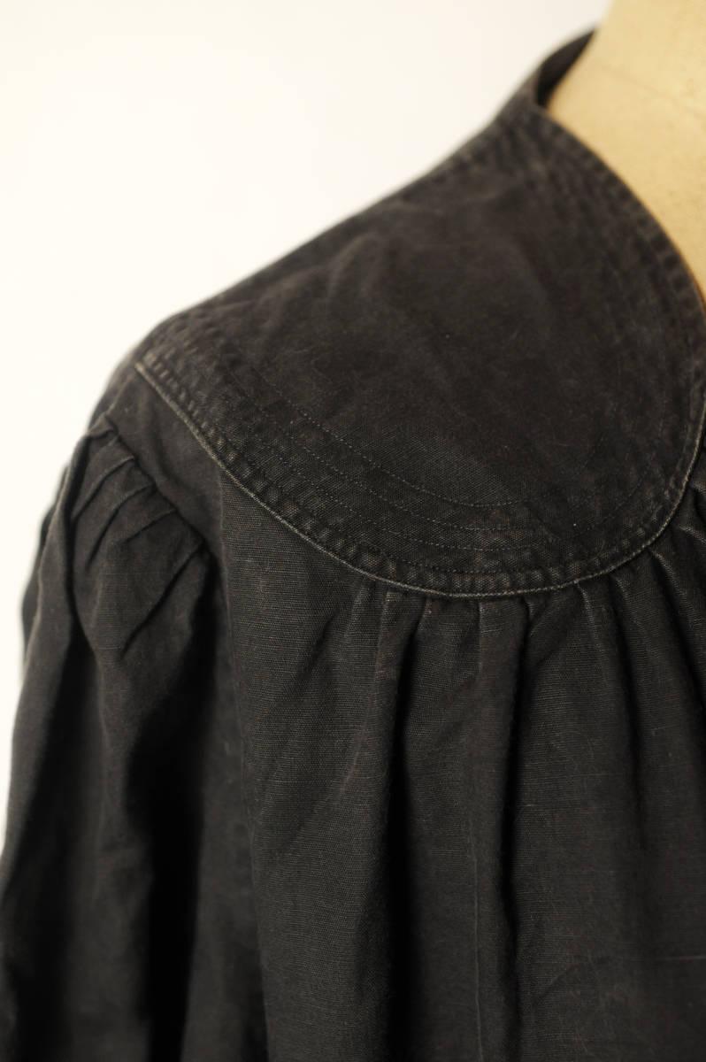 フランス ヴィンテージ 1930's ブラックコットンリネンワークブラウス レアディティール 20s 30s 40s ジャケット アンティーク 送料込_画像3