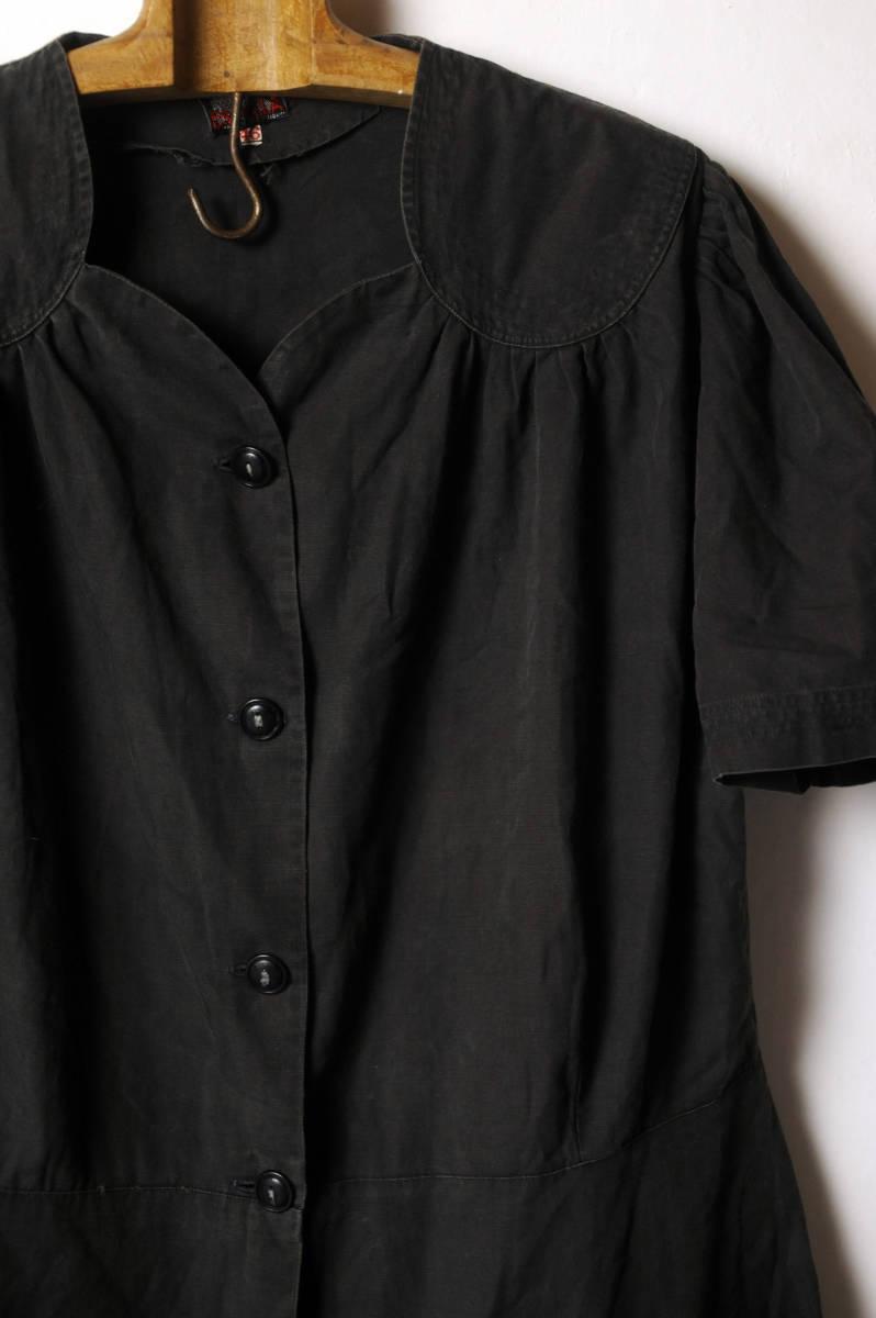 フランス ヴィンテージ 1930's ブラックコットンリネンワークブラウス レアディティール 20s 30s 40s ジャケット アンティーク 送料込_画像9