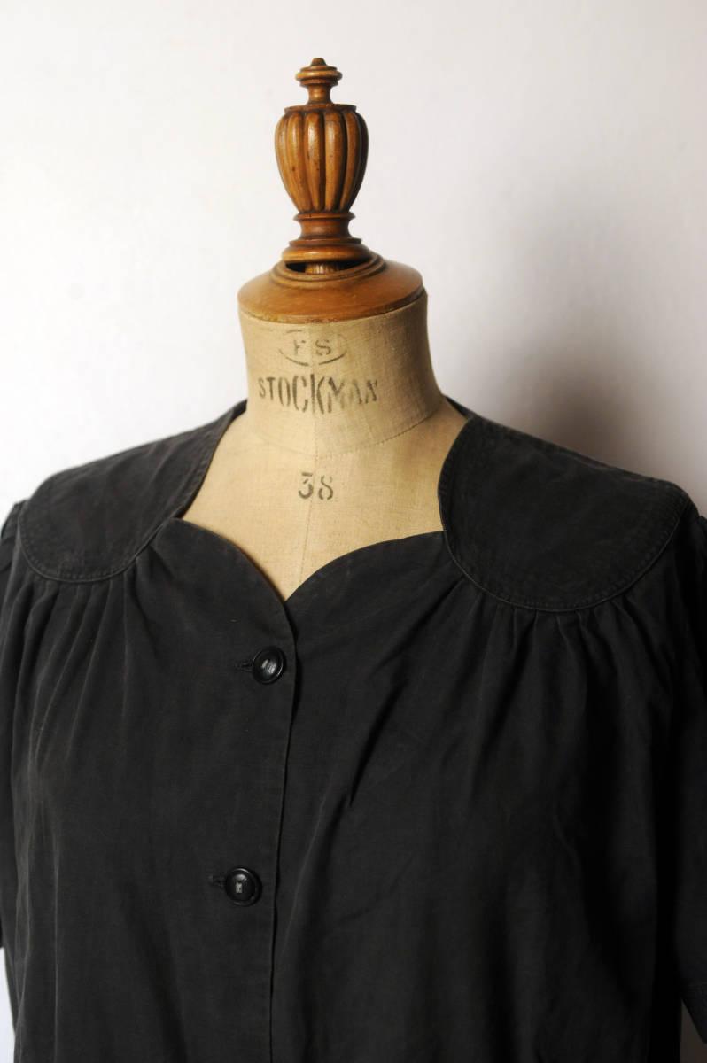 フランス ヴィンテージ 1930's ブラックコットンリネンワークブラウス レアディティール 20s 30s 40s ジャケット アンティーク 送料込_画像2