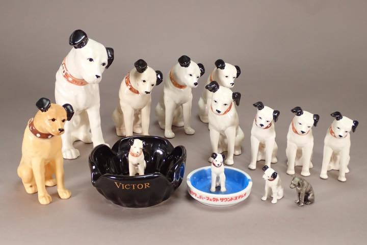 SY-4 ビクター犬 ニッパー君 まとめて 13点 陶器 ソフビ 金属 灰皿
