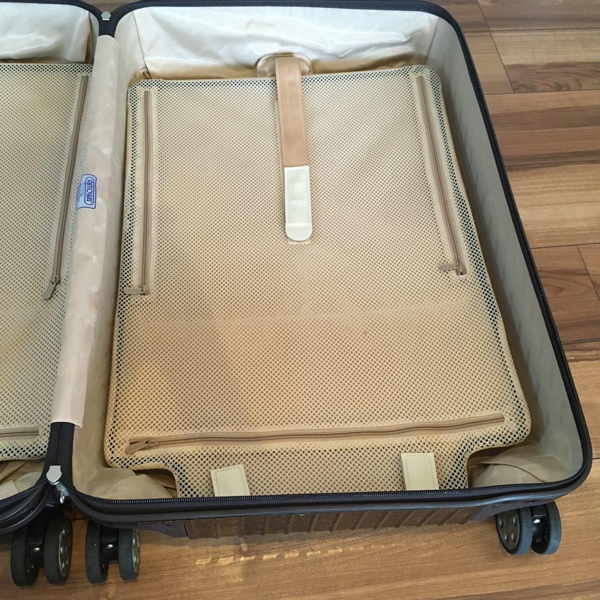中古 RIMOWAリモワ サルサ デラックス 87L SALSA DELUXE キャリーバック スーツケース ブラウン 機内持ち込み不可 新型 TSA有 4輪 ゼロハリ_画像8