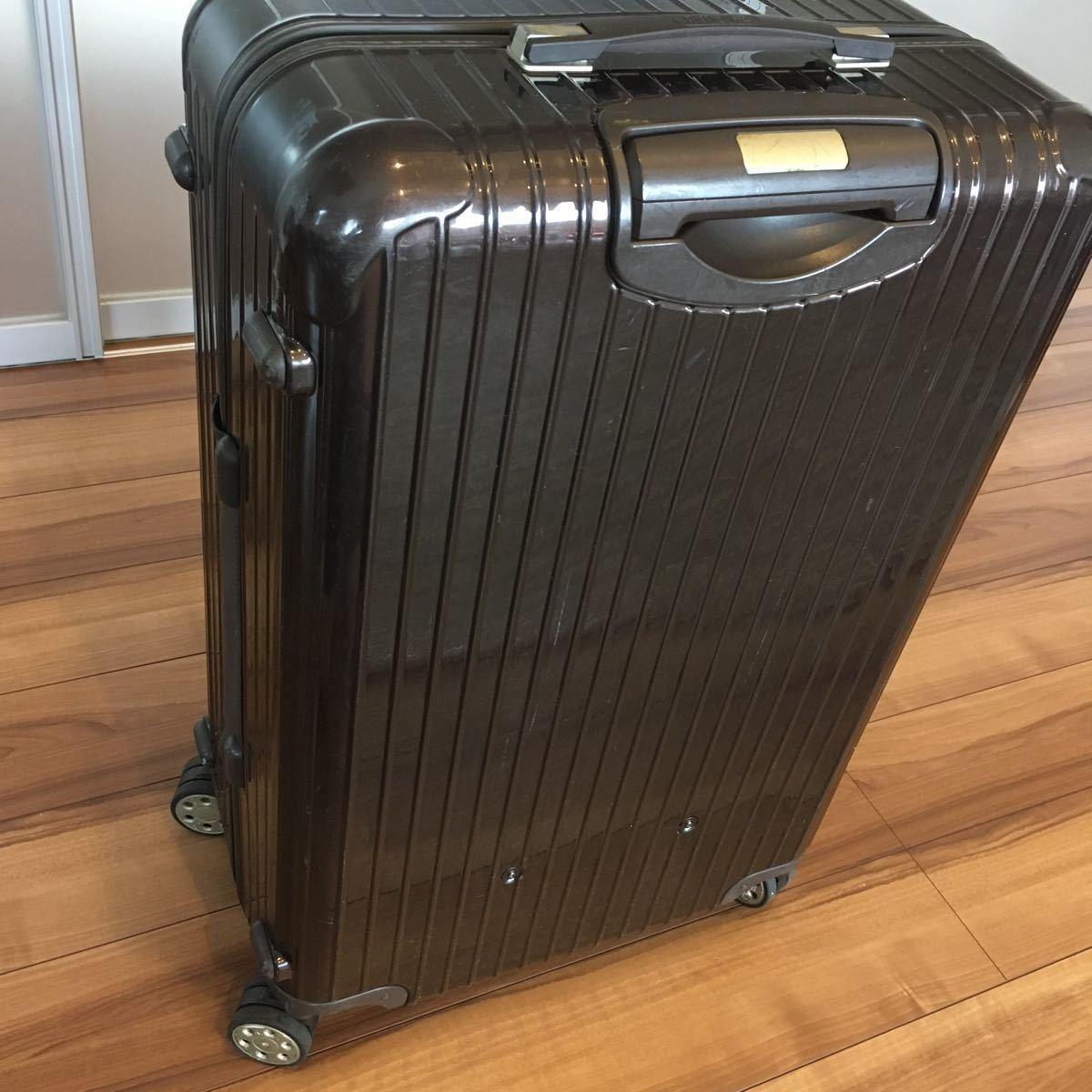 中古 RIMOWAリモワ サルサ デラックス 87L SALSA DELUXE キャリーバック スーツケース ブラウン 機内持ち込み不可 新型 TSA有 4輪 ゼロハリ_画像4