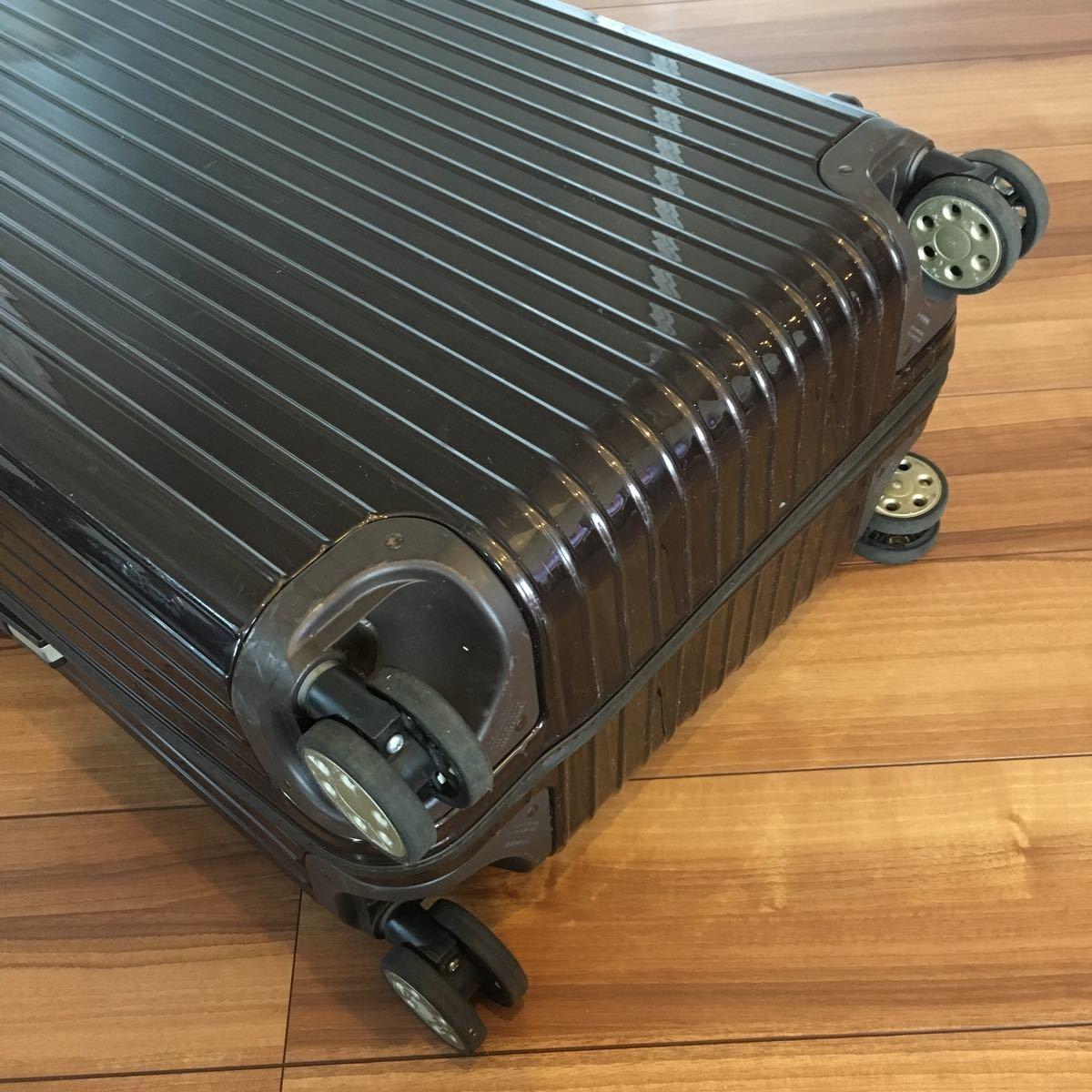 中古 RIMOWAリモワ サルサ デラックス 87L SALSA DELUXE キャリーバック スーツケース ブラウン 機内持ち込み不可 新型 TSA有 4輪 ゼロハリ_画像5