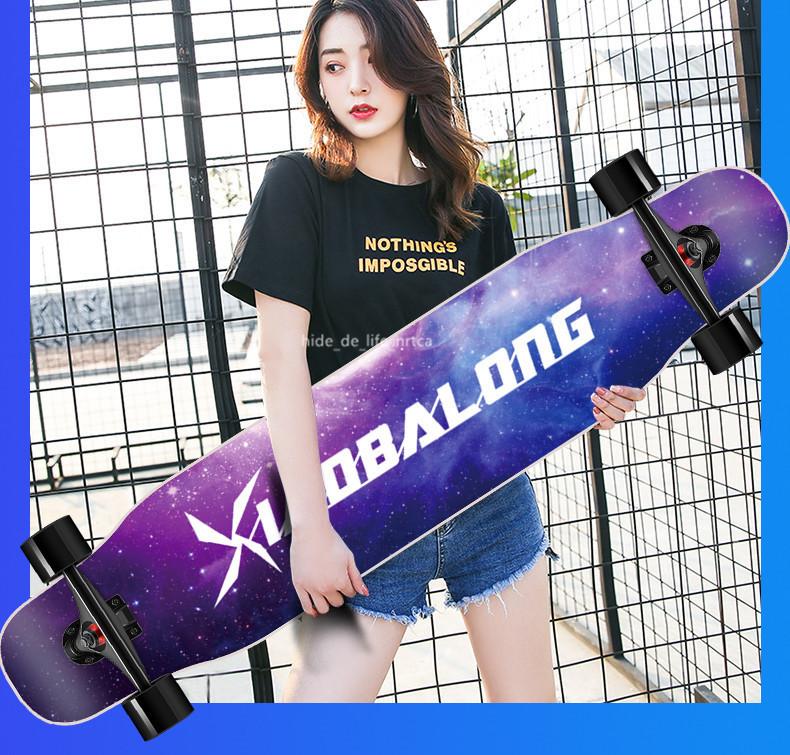 プロの四輪スケートボード ロングボード スクーター 初心者青少年子供通用 80A高弾性PUホイール ABEC-11クロム鋼マナーモード軸受 SSG-5