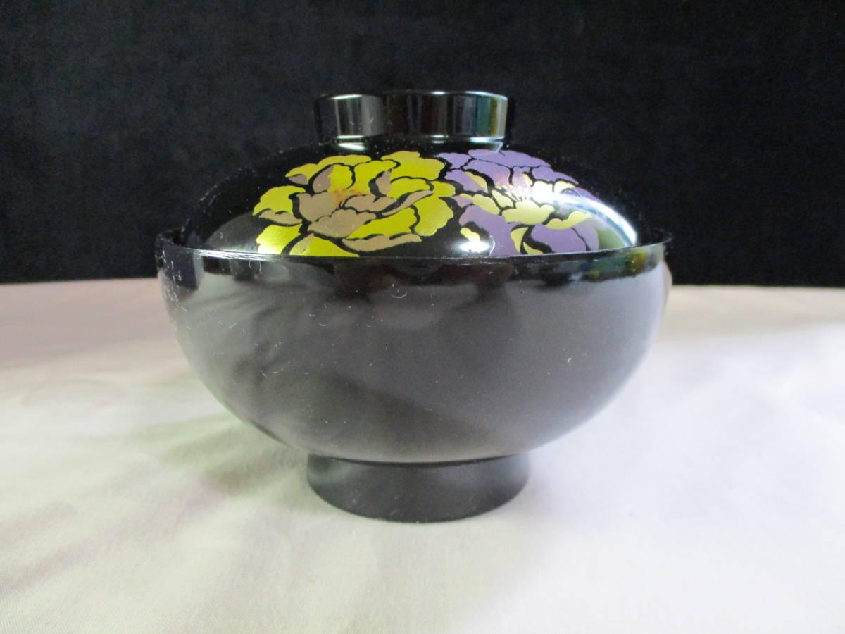 鶯】 花うらら 御吸物椀 ☆5客 漆器 紫の花絵が美しい♪ 未使用_画像2