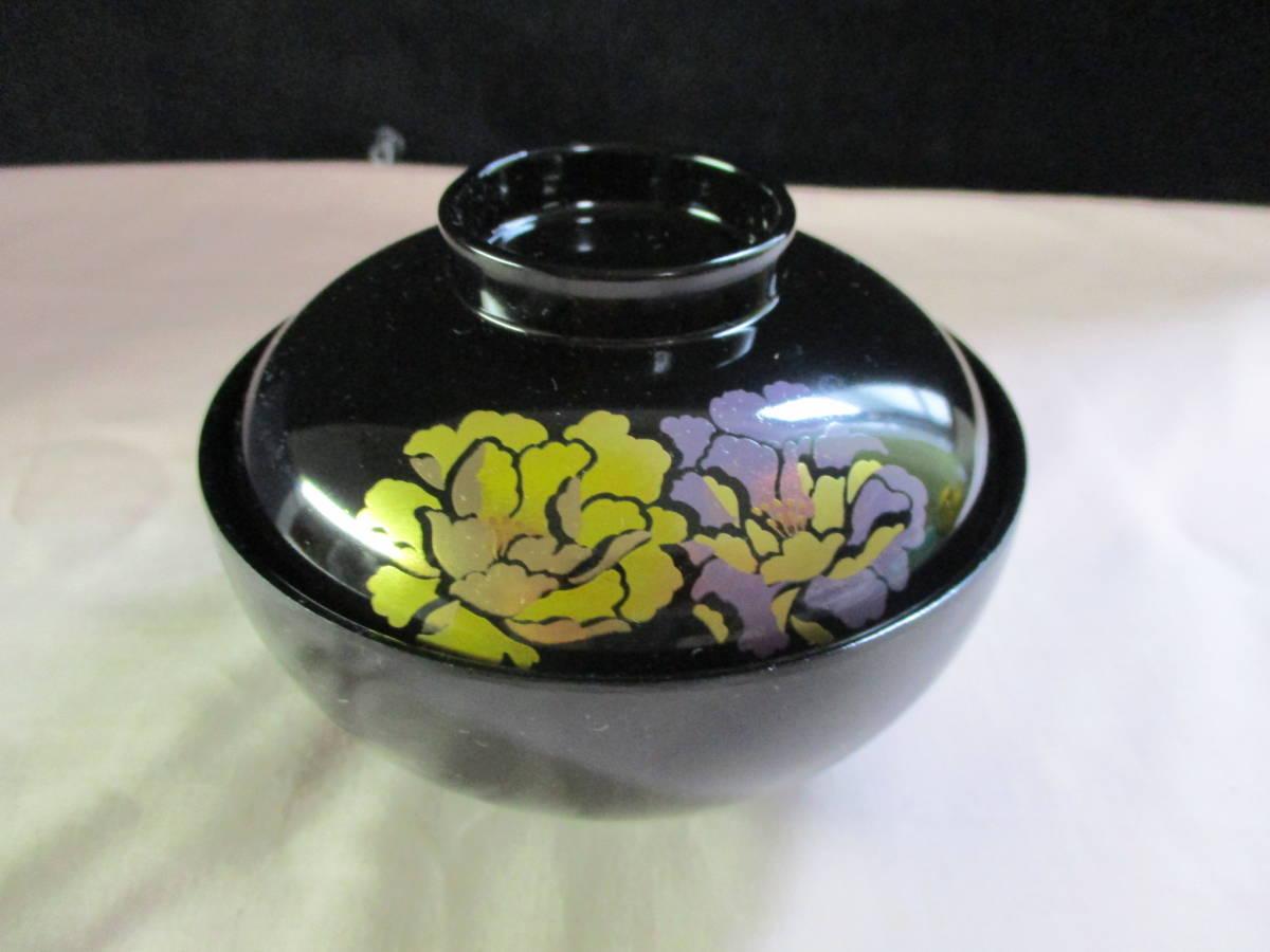 鶯】 花うらら 御吸物椀 ☆5客 漆器 紫の花絵が美しい♪ 未使用_画像3
