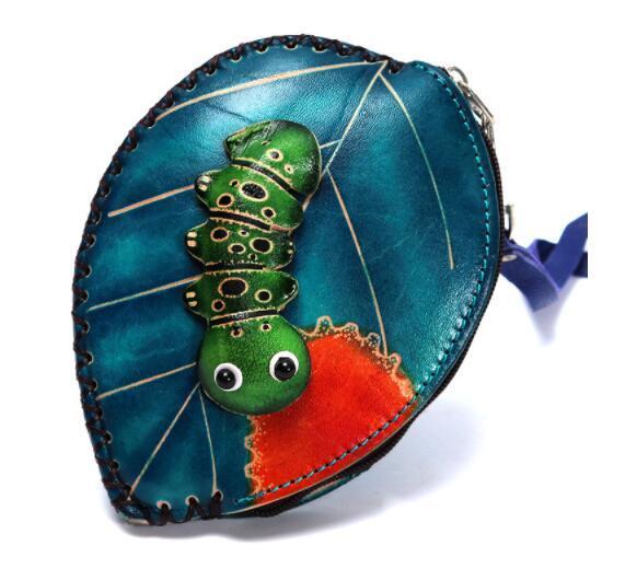 13C027 小銭入れ コインケース レディース 財布 Handmade 手作り 本革 レザー かわいい 可愛い 葉 毛虫 人気 素敵 通勤出張旅行