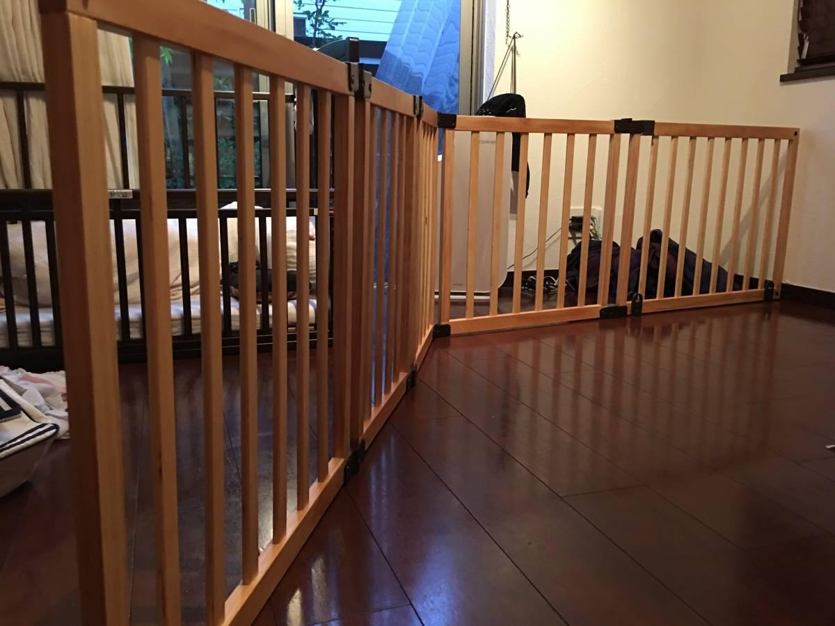日本育児 おくだけとおせんぼ スマートワイドWoody 木製 ベビーゲート 置くだけ_画像4