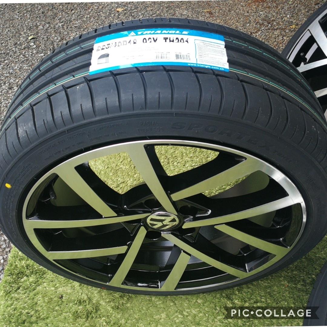 新品VW ワーゲン ゴルフ5 ゴルフ6 ゴルフ7 BK966 18インチ 4本タイヤ付き!▼225/40R18 225/40R18_画像2