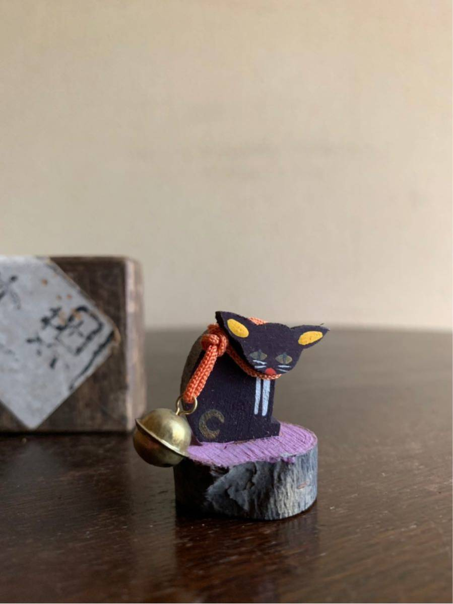 《真》郷土玩具⑤ 戦前 共箱付 木製 子猫 黒猫 猫 一刀彫