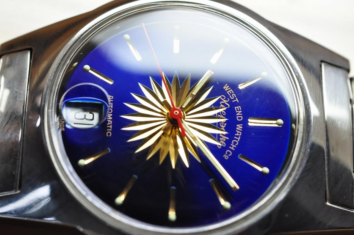 美品 WEST END WATCH Co◆1970年代 ウエスト・エンド・ウォッチカンパニー keepsake メンズ腕時計 17石 自動巻き 純正ベルト BLUE青ブルー_画像4