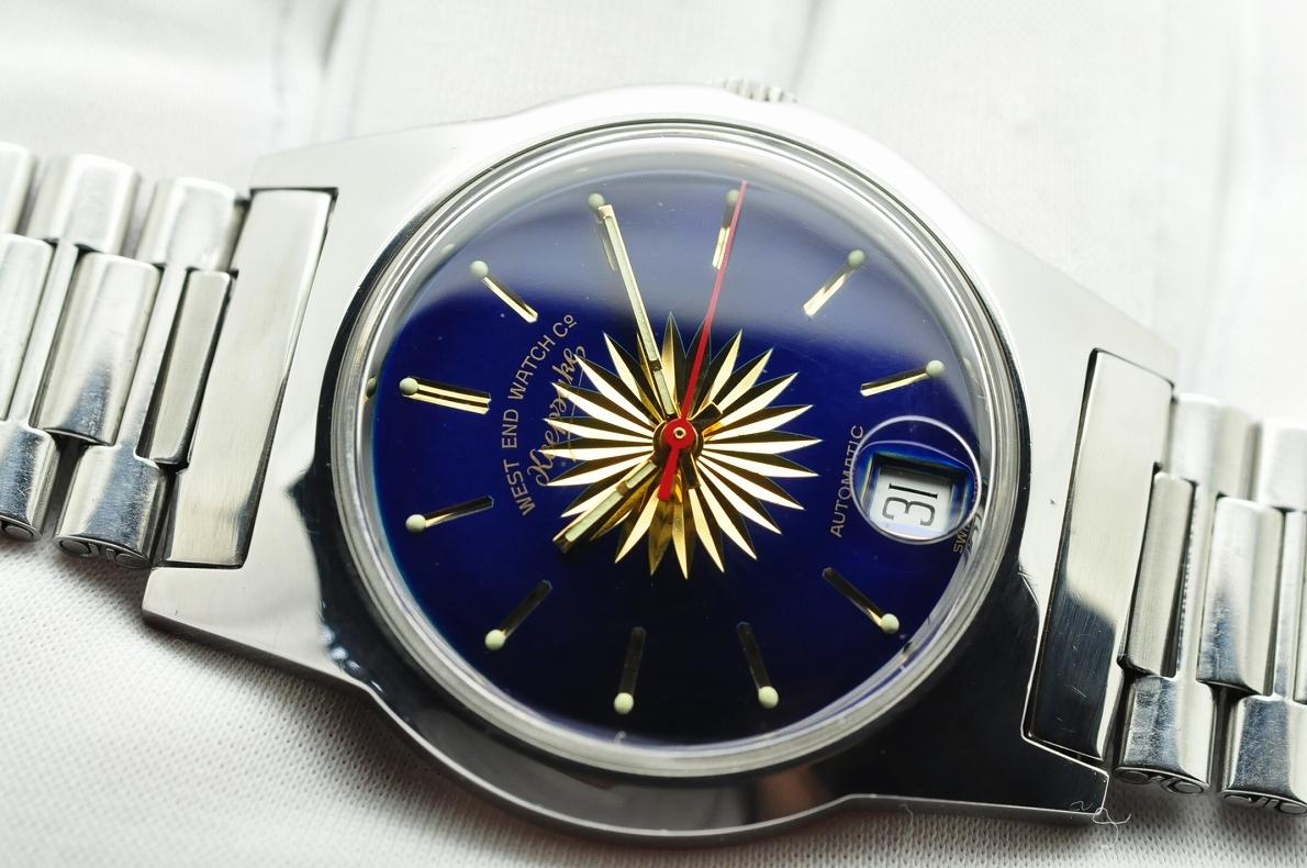美品 WEST END WATCH Co◆1970年代 ウエスト・エンド・ウォッチカンパニー keepsake メンズ腕時計 17石 自動巻き 純正ベルト BLUE青ブルー_画像5