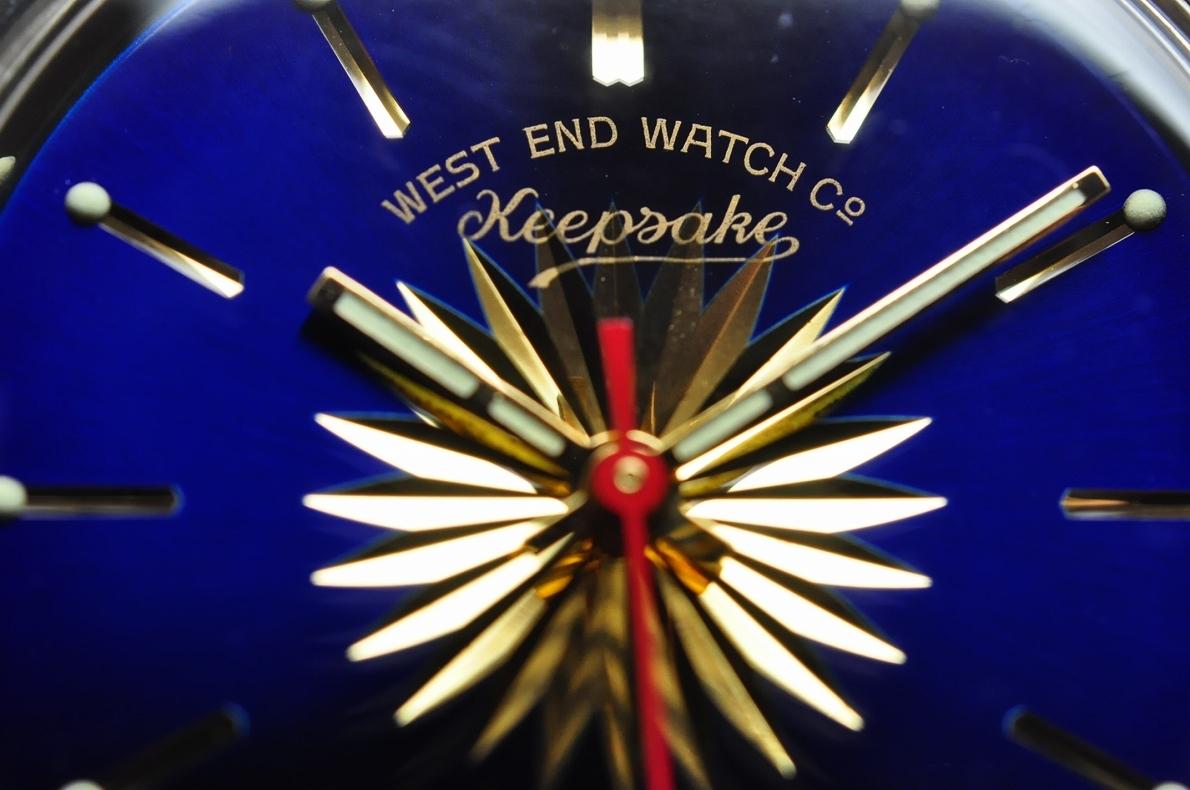 美品 WEST END WATCH Co◆1970年代 ウエスト・エンド・ウォッチカンパニー keepsake メンズ腕時計 17石 自動巻き 純正ベルト BLUE青ブルー_画像8