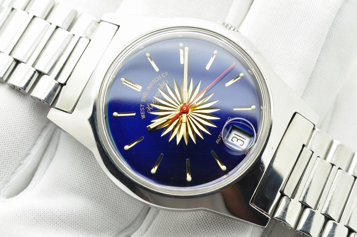 美品 WEST END WATCH Co◆1970年代 ウエスト・エンド・ウォッチカンパニー keepsake メンズ腕時計 17石 自動巻き 純正ベルト BLUE青ブルー