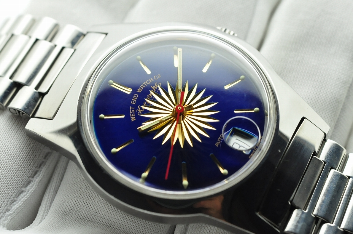 美品 WEST END WATCH Co◆1970年代 ウエスト・エンド・ウォッチカンパニー keepsake メンズ腕時計 17石 自動巻き 純正ベルト BLUE青ブルー_画像2