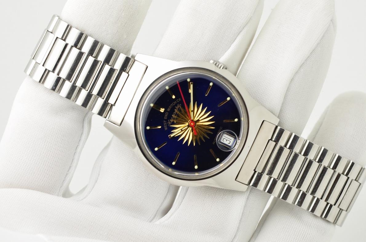美品 WEST END WATCH Co◆1970年代 ウエスト・エンド・ウォッチカンパニー keepsake メンズ腕時計 17石 自動巻き 純正ベルト BLUE青ブルー_画像3