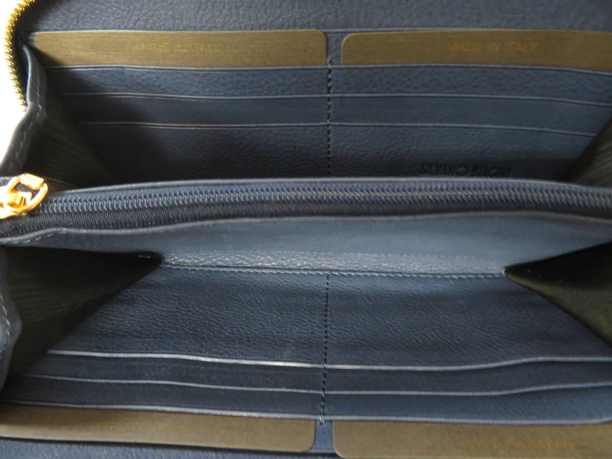 ☆☆未使用 シルヴァーノビアジーニ SILVANO BIAGINI パイソンレザー 長財布 イタリア製 ラウンドファスナー ブルー P6_画像7