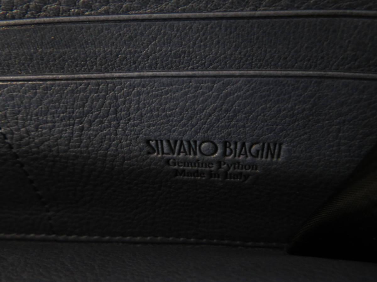 ☆☆未使用 シルヴァーノビアジーニ SILVANO BIAGINI パイソンレザー 長財布 イタリア製 ラウンドファスナー ブルー P6_画像8