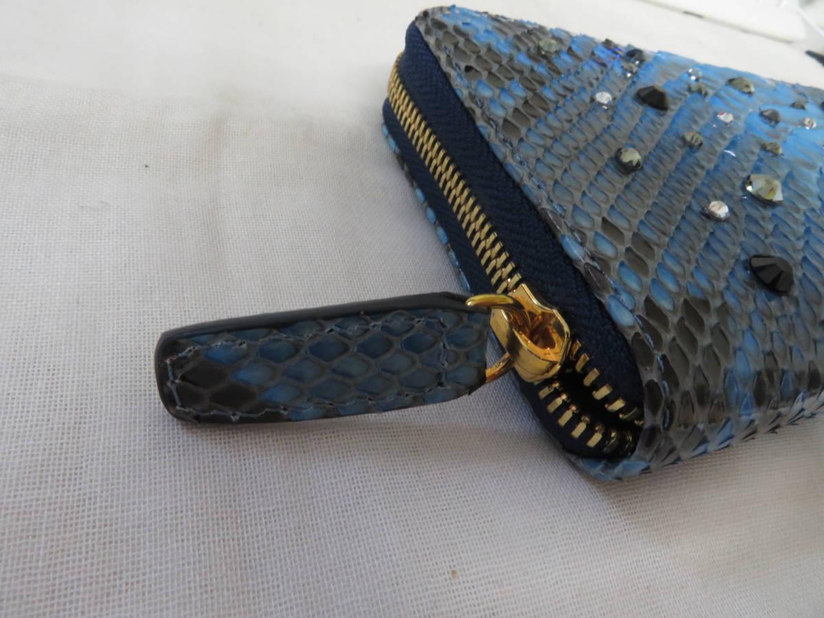 ☆☆未使用 シルヴァーノビアジーニ SILVANO BIAGINI パイソンレザー 長財布 イタリア製 ラウンドファスナー ブルー P6_画像2