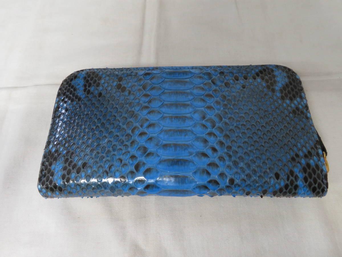 ☆☆未使用 シルヴァーノビアジーニ SILVANO BIAGINI パイソンレザー 長財布 イタリア製 ラウンドファスナー ブルー P6_画像5