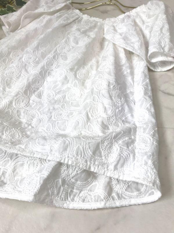 d660★ センスオブプレイス アーバンリサーチ 刺繍 コットン ホワイト プルオーバー ブラウス オフショル シャツ レディース トップス_画像4