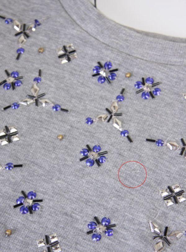 ★B271☆H&M ビジュートレーナー スウェットシャツ 半袖 グレー レディーストップス Tシャツ スポーツにも♪_画像4