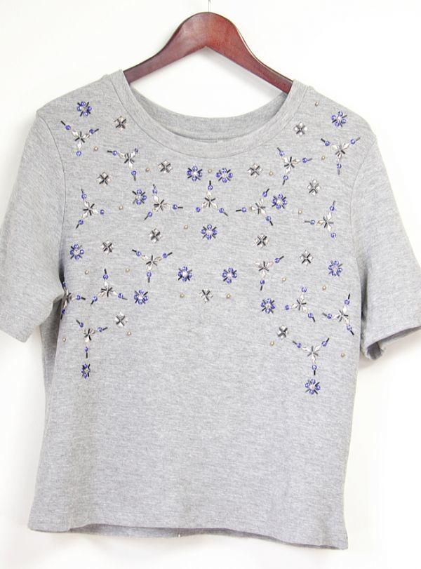★B271☆H&M ビジュートレーナー スウェットシャツ 半袖 グレー レディーストップス Tシャツ スポーツにも♪_画像5