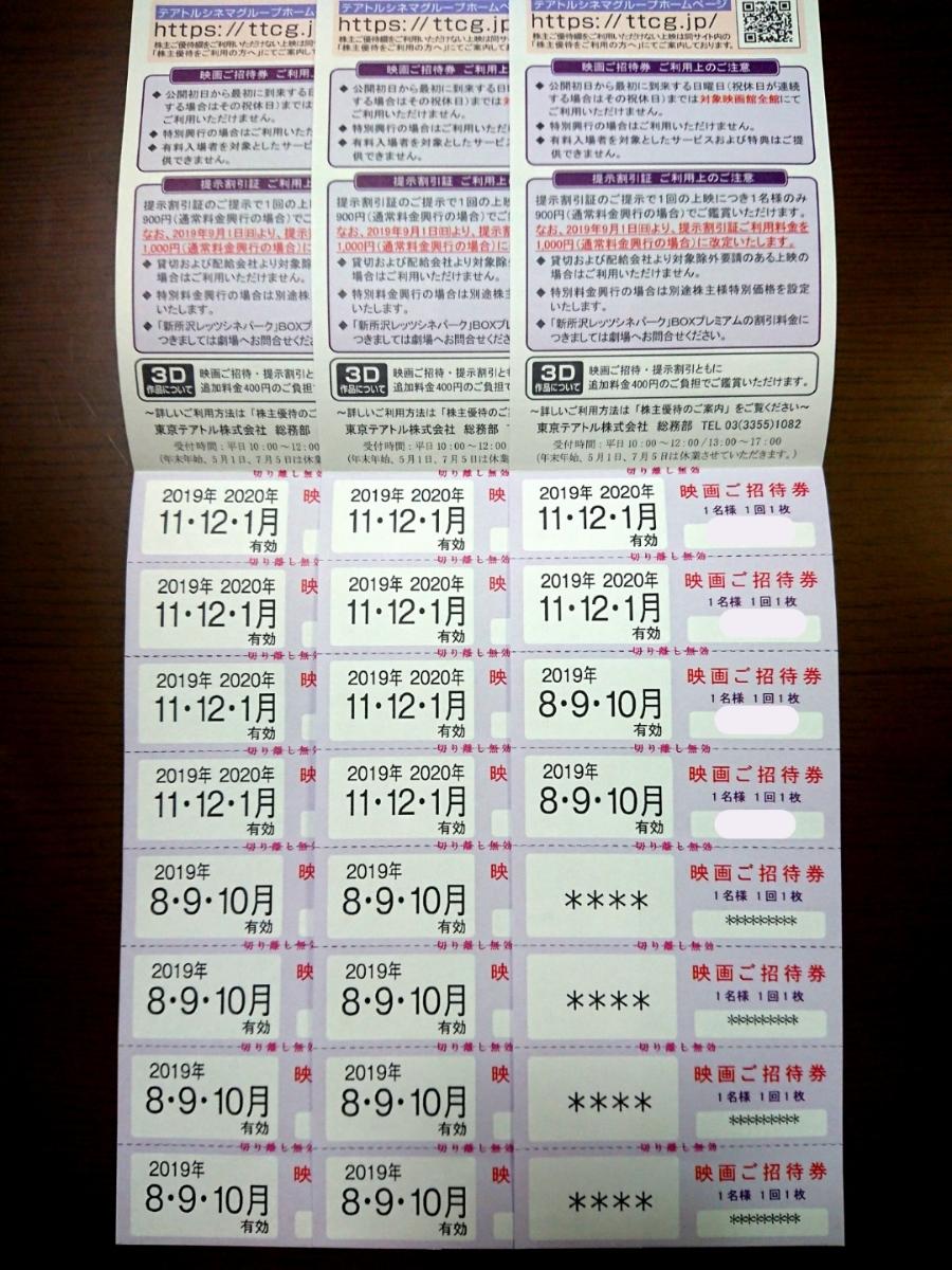 【ネコポス送料無料】東京テアトル株主優待☆映画ご招待券20枚(女性名義)+提示割引証⑥