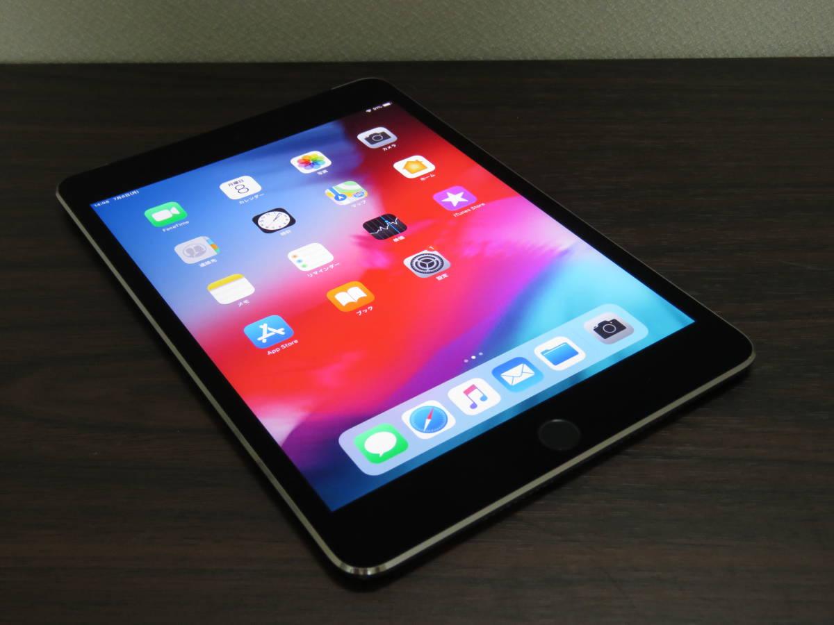 ★良品★ simフリー iPad mini4 Wi-Fi +Cellular 16GB Space Gray MK6Y2J/A